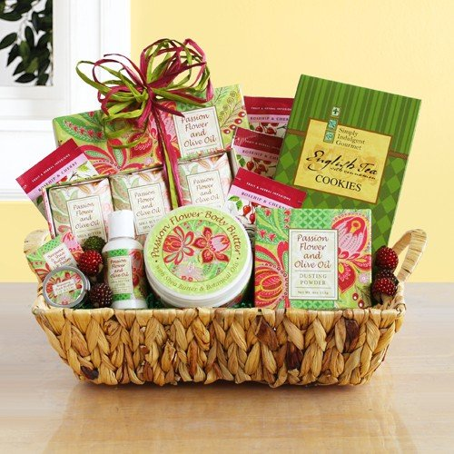 Passion Flower Spa Gift Basket for Women | Christmas Gift Idea for Her