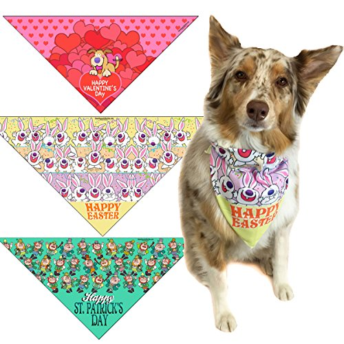 61JsctPuLxL - Valentines Day, St Patricks Day & Easter Dog Bandana Med to Large Dogs - Set of 3