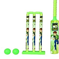 PA Toys Cricket Set for Kids Ben 10 Ball, Bat, Stumps,Outdoor Sport Play Set, Green (Color May Very)