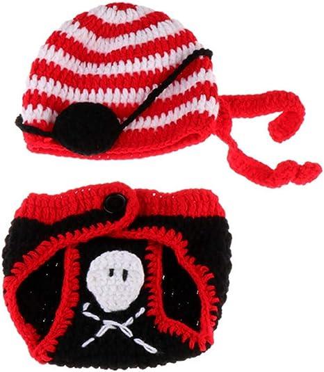 YeahiBaby disfraz de pirata para recién nacido, gorro de punto y ...