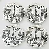 Bonjour Paris White With Black Eiffel Design Tower Porcelain Plates   Bowls   Serve Ware   Mugs (Set of 4   Lunch Plates 9 inches)