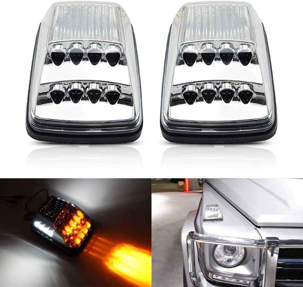 Front LED Dynamic Turn Signal Light Kits For 1990-2018 Mercedes W463 G-Class G500 G550 G600 G55 G63 AMG Amber LED Sequential Turn Signal Corner Lights White LED Position Lights Clear Lens