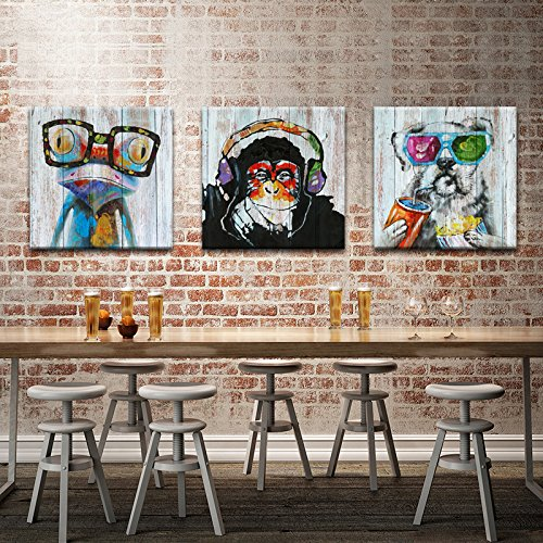 12x12x3 Animals Canvas Wall Art,Modern Gorilla Monkey Music Oil Painting Wall Painting Happy Dog Frog Canvas Painting Home Decor Animal Prints