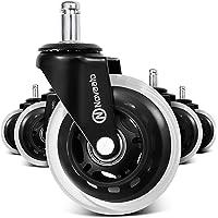NOVAATO Bureaustoelwielen in set van 5 - geruisloze wielen voor harde vloeren, 10 mm x 22 mm - licht glijdende…