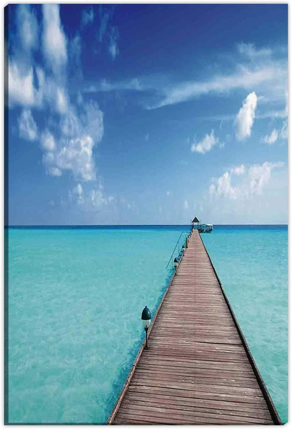Hitecera Tropical,Home Decorations for Living Room,Wooden Jetty Over Clear Maldivian Sea Tropical Beach Vacation Travel OKJEFF 191486,Gifts for Couples,12''x16''