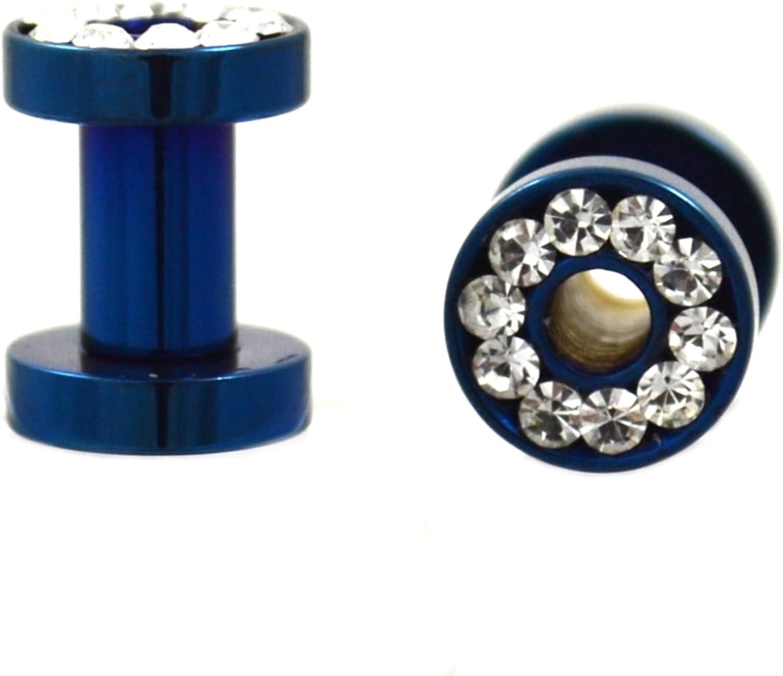 Blue Screw on Stainless Steel Ear Plug Tunnels Gem Ear Tunnel Plugs Gauges