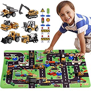 SunbriloStore Construction Vehicles Truck Toys Set with Play Mat, Vehicles Toy Play Set with a Kid Play Car Rug, Engineering Vehicle Toys with 6 Trucks Construction Site, 6 Traffic Sign, Road for Kids