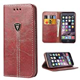 Wallet iPhone 6 Case Leather iPhone 6s Wallet Magnetic Flip Folio Protective Case Cover for Apple iPhone 6/6S iDoer - Brown