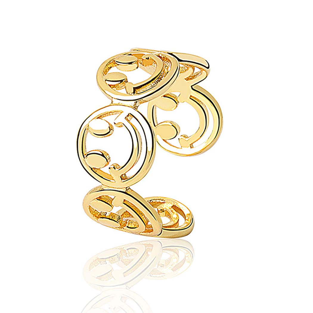 Flosy Smiley Face Ring Lucky Smiling Face Band Ring Cute Open Statement Ring Adjustable for Women and Men (Gold): Clothing
