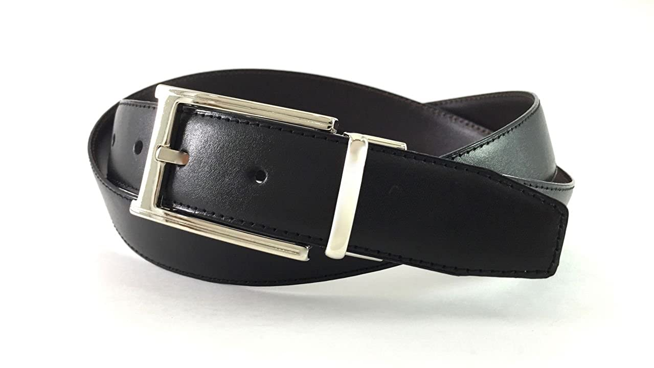 EDNA Italian-Made Leather Reversible Dress Belt with Nickel Plated Pin Buckle