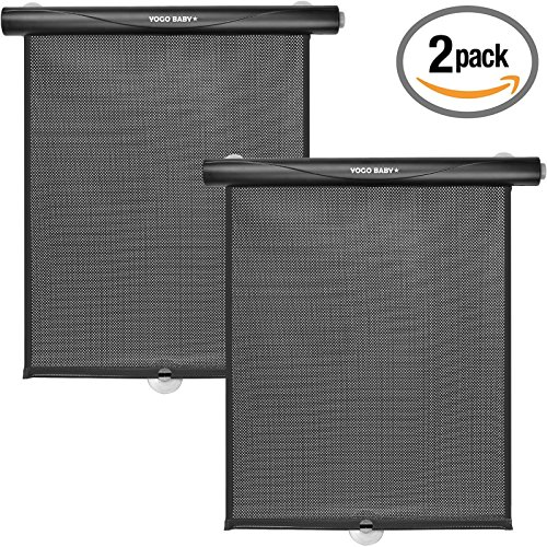 Car Roller Sunshade Deluxe Set of 2 Black Retractable Car Window Sunshade Blocks Sun and Keeps Car Cool for Babies and - Super Price Shades