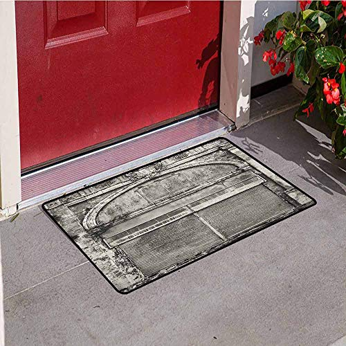 GloriaJohnson Rustic Universal Door mat Monochrome Old Closed Store Front with Jalousie and Classic Medieval Touch Historic Photo Door mat Floor Decoration W15.7 x L23.6 Inch Grey ()