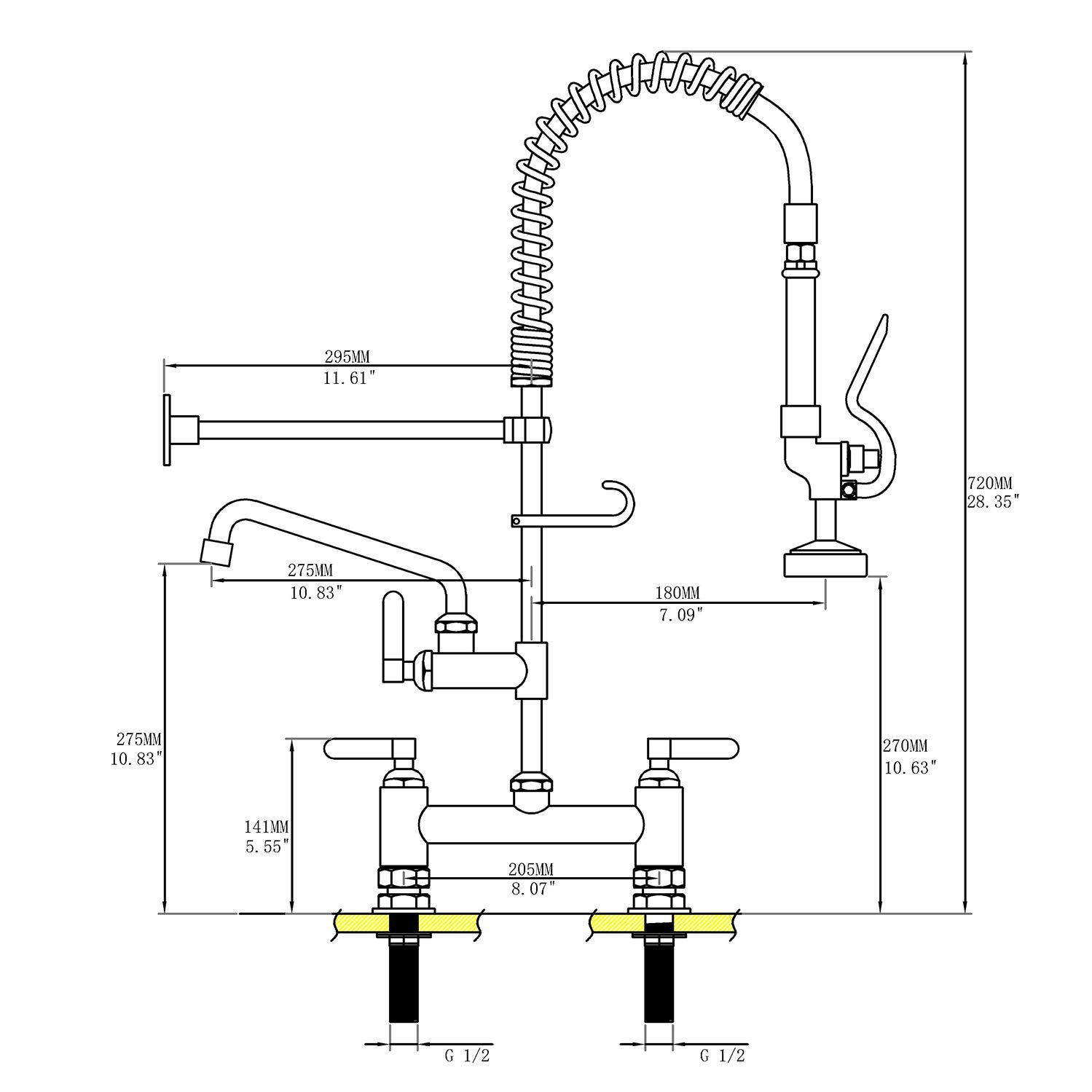 LZD Commercial Sink Faucet Deck Mount Pre-Rinse Spring Faucet Brass Construction 8''Center 28'' Height Polished Chrome Pull Down Kitchen Sink Faucet with Sprayer by Fonveth (Image #6)