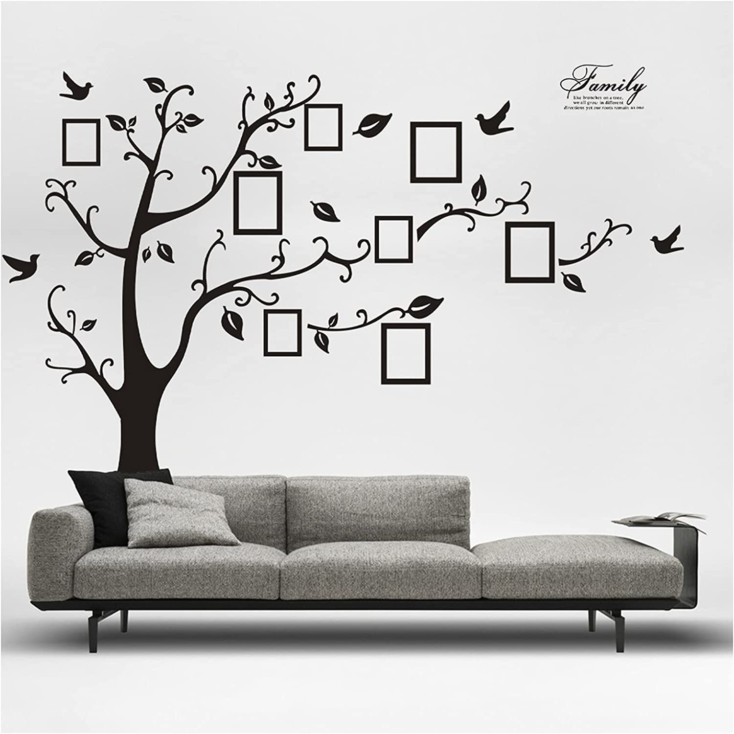 98 x 71 inch Photo Tree Wall Stickers Family Photo Frame Tree Window Decals Decorations Murals Wall Art Decorative Sticker for Kids Living Room Bedroom Nursery Playroom Jungle Party Decor Supplies