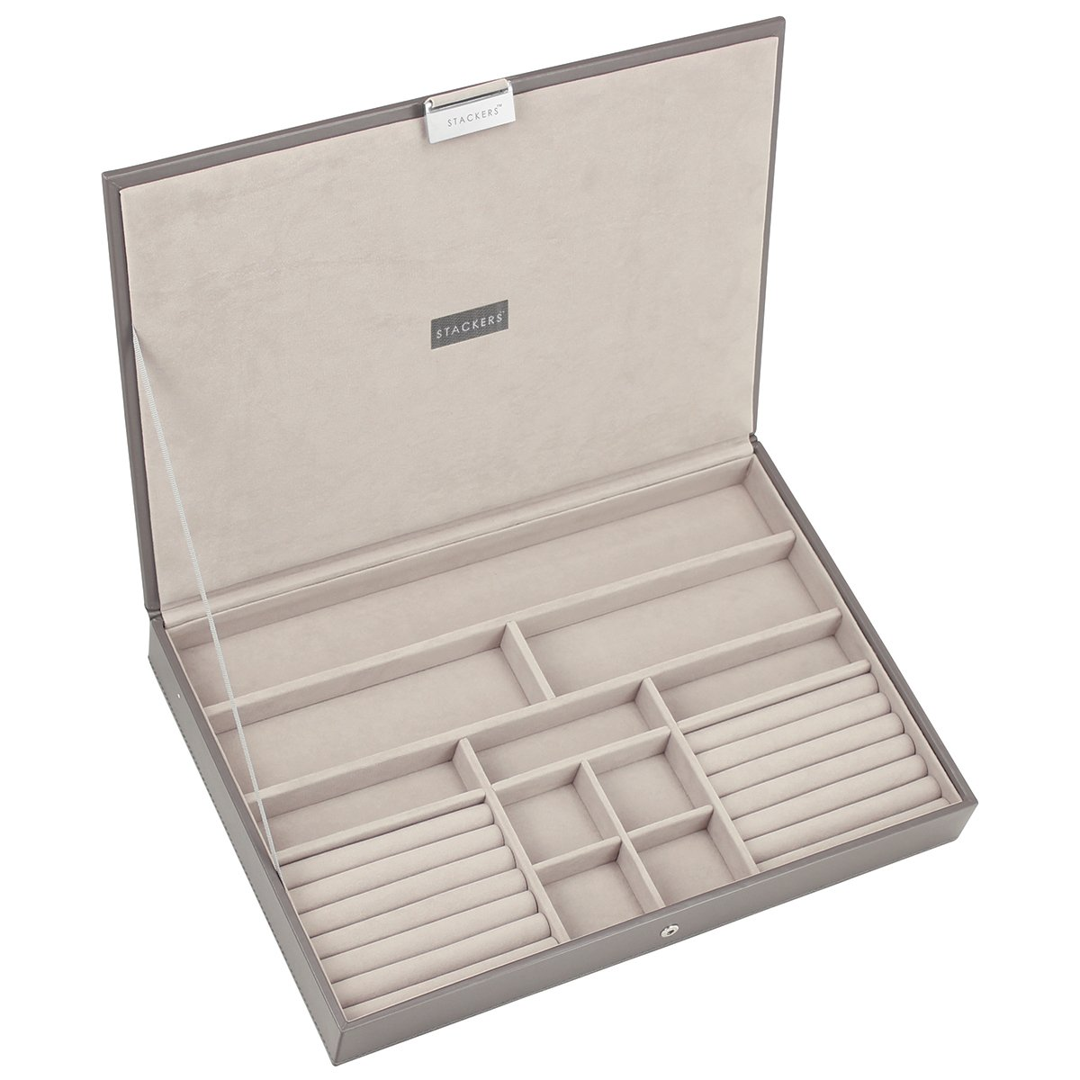 STACKERS /'SUPER SIZE/' Dove Grey Cross Hatch Large Lidded STACKER Jewellery Box with Mint Green Lining.