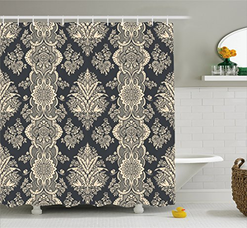 (Ambesonne Damask Shower Curtain, Victorian Style Baroque Classic Pattern with Ornamental Floral Leaves Image, Fabric Bathroom Decor Set with Hooks, 75 Inches Long, Charcoal Grey Cream)