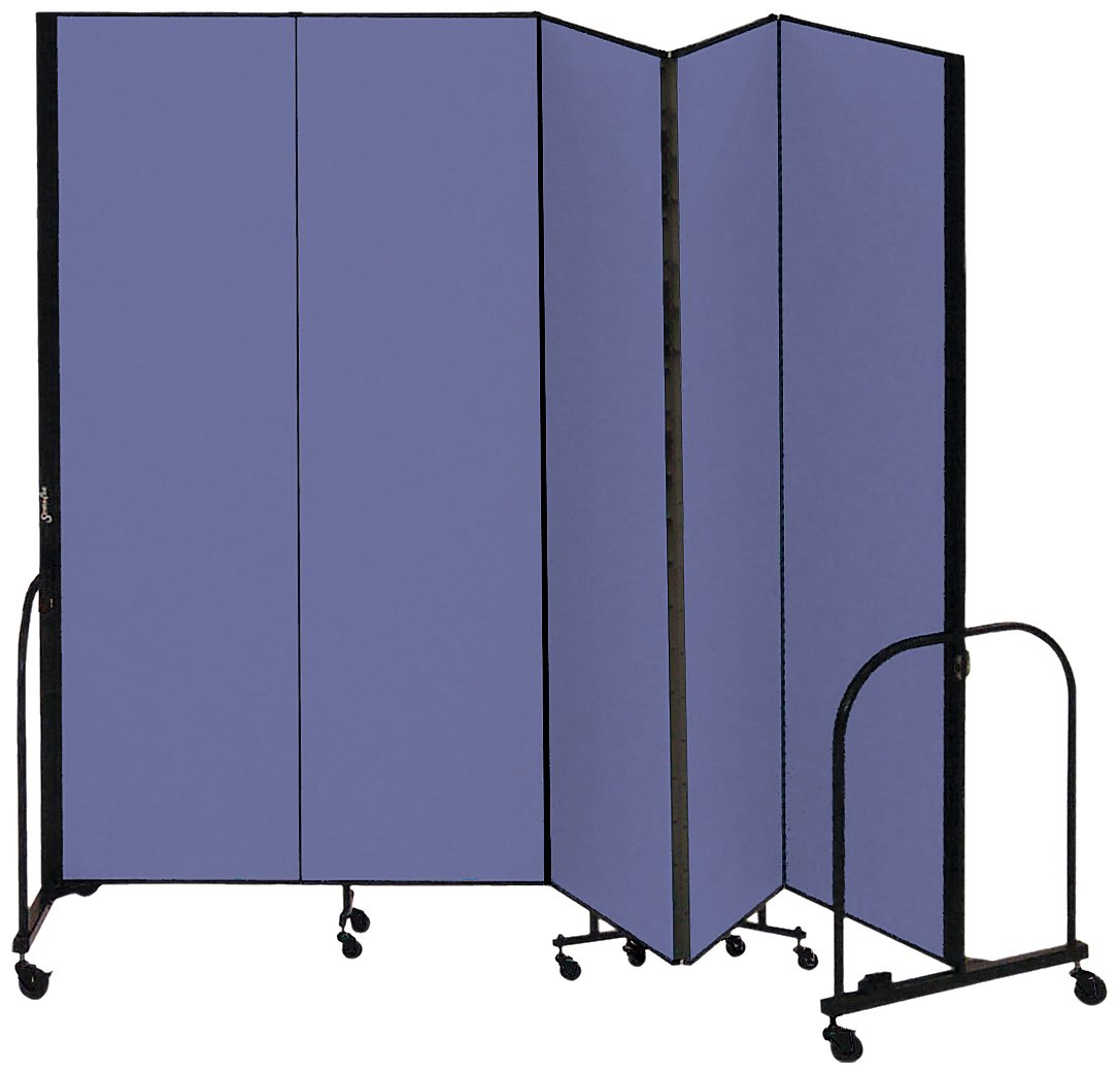 Screenflex Commercial Portable Room Divider (CFSL805-DB) 8 Feet High by 9 Feet 5 Inches Long, Designer Blue Fabric