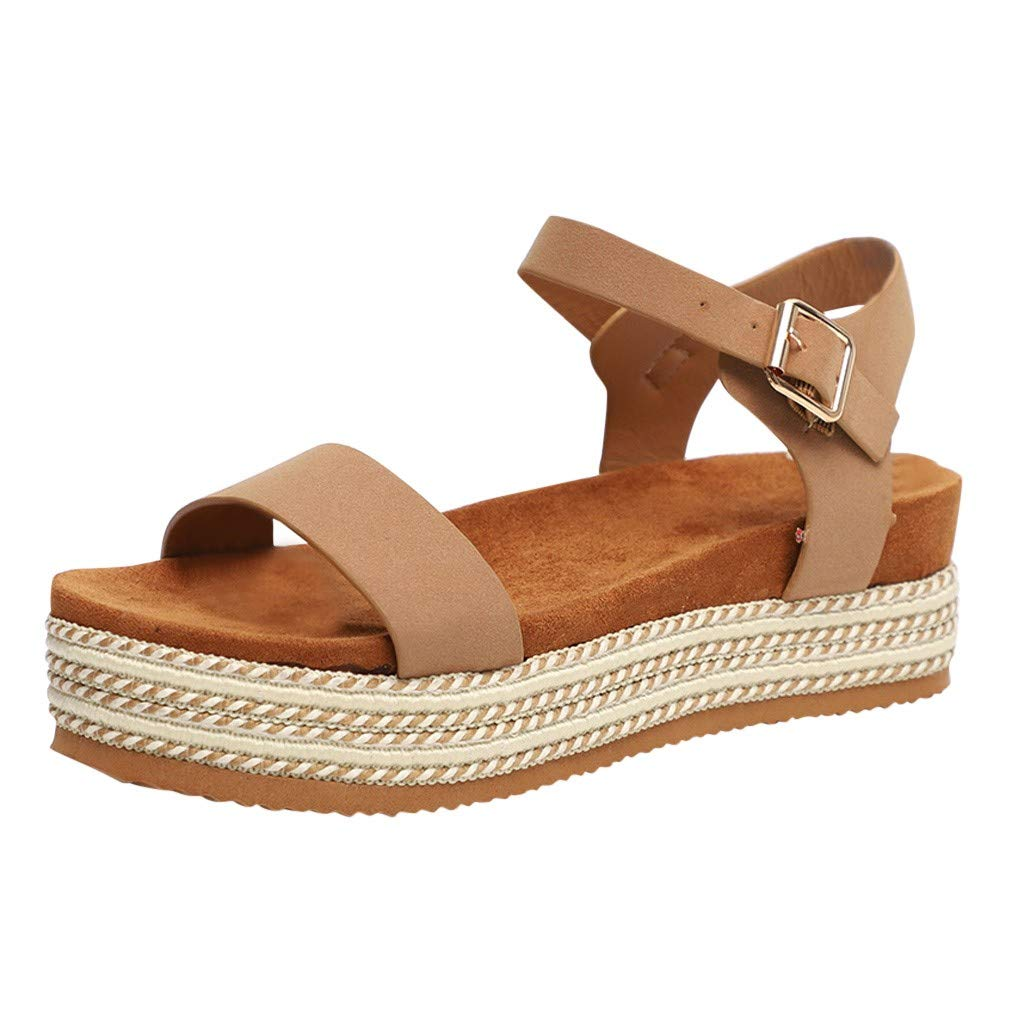 Sharemen Womens Casual Espadrilles Flatform Studded Wedge Buckle Ankle Strap Open Toe Sandals(Khaki,US: 7.5) by Sharemen Shoes (Image #1)