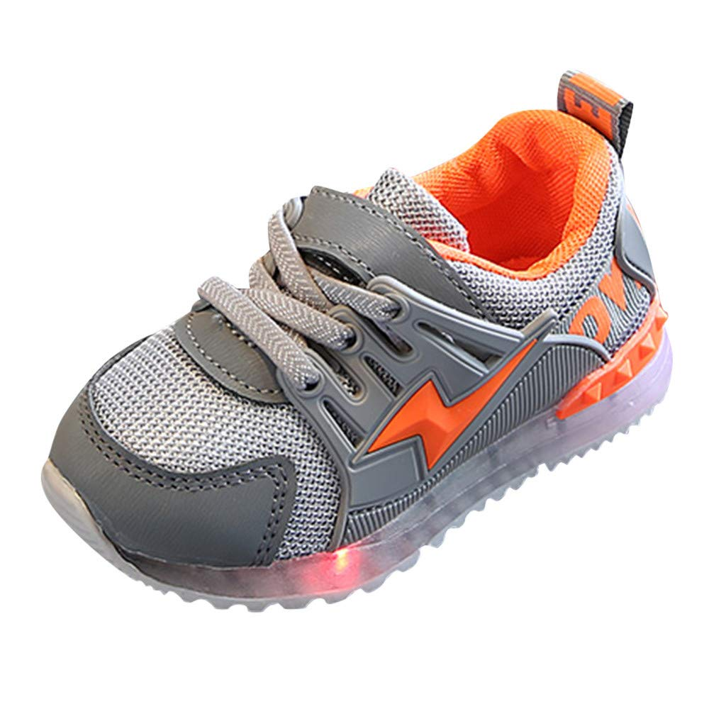 Zerototens Baby Sport Shoes, 1-6 Years Old Toddler Kids Mesh Letter Athletic Shoes Children Trainers Led Light Up Luminous Sneakers Boots Soft Bottom Outdoor Non-Slip Running Shoes