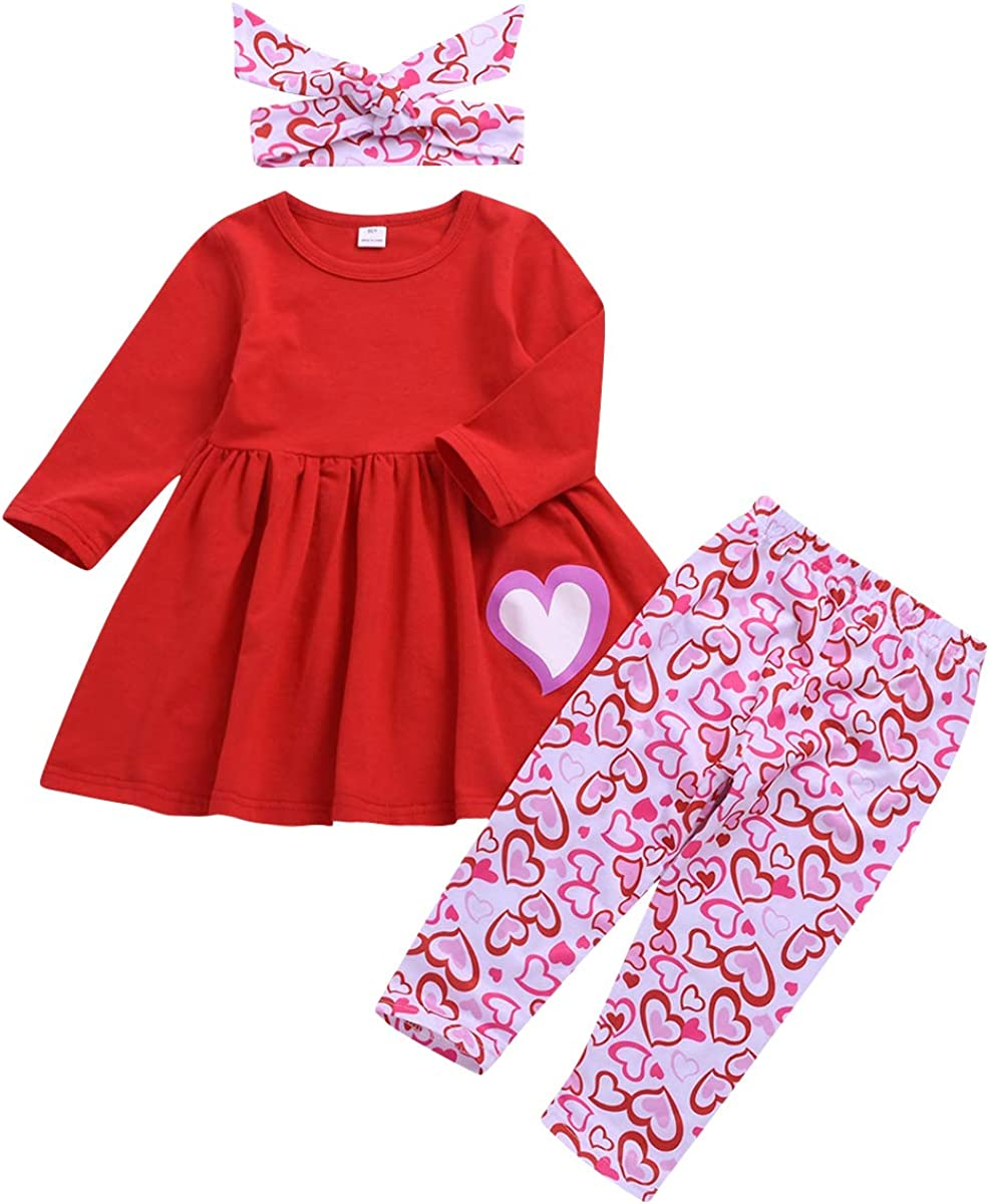 Huyghdfb Baby Girl s Casual Long-Sleeved Dress Fashion Heart Printing Stitching Children s A-line Princess Dress