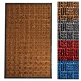 casa pura Entrance Mat | Embossed Front Door Mat | Indoor and Outdoor Entry Rug | Brown | 36' x 60'