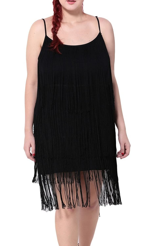 Bigood Plus Size Makramee Deko Schulterfrei Damen Sommer Kleid Minikleid Schwarz
