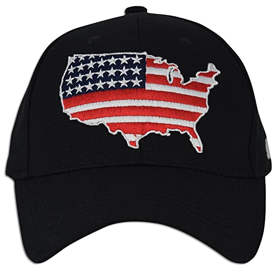 025637dd06b USA Flag Baseball Polo Style Strapback Hats Cotton Adjustable Embroidery Hat  Dad (Black)
