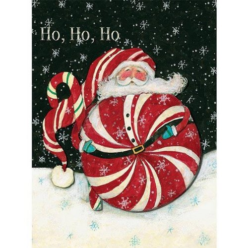 (Peppermint Santa Tip-On Boxed Christmas Cards)