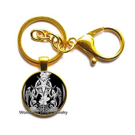 Amazon.com: Llavero con logotipo de pentagrama Baphomet con ...