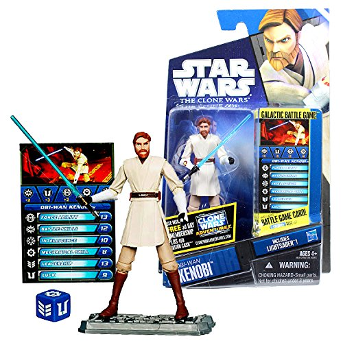 (Star Wars Year 2010 Galactic Battle Game The Clone Wars Series 4 Inch Tall Figure : OBI-WAN KENOBI CW40 with Lightsaber, Battle Game Card, Die and Display)