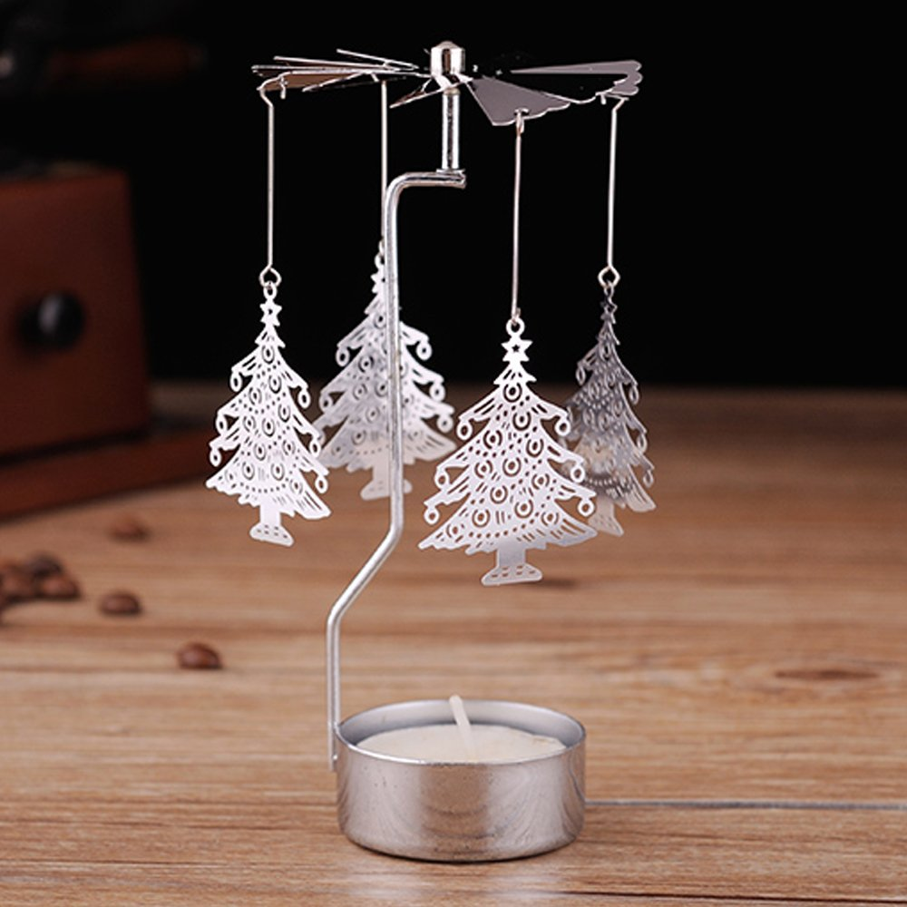 European Rotating Windmill Silver Metal Exquisite Tea Light Candle Holder Romantic Wedding Dinner Decoration Desktop Ornaments (Christmas Tree Style) by Laugh Cat
