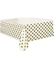 Unique Party 37293 - Plastic Gold Polka Dot Tablecloth, 9ft x 4.5ft