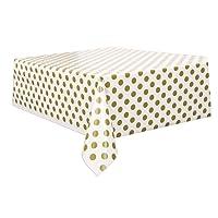 Unique Party Plastic Gold Polka Dot Tablecloth, 9ft x 4.5ft