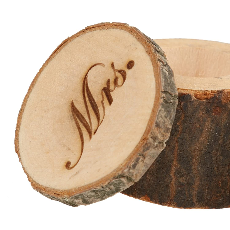 Buy Generic 2pcs Mr & Mrs Rustic Wooden Shabby Wedding Ring Box
