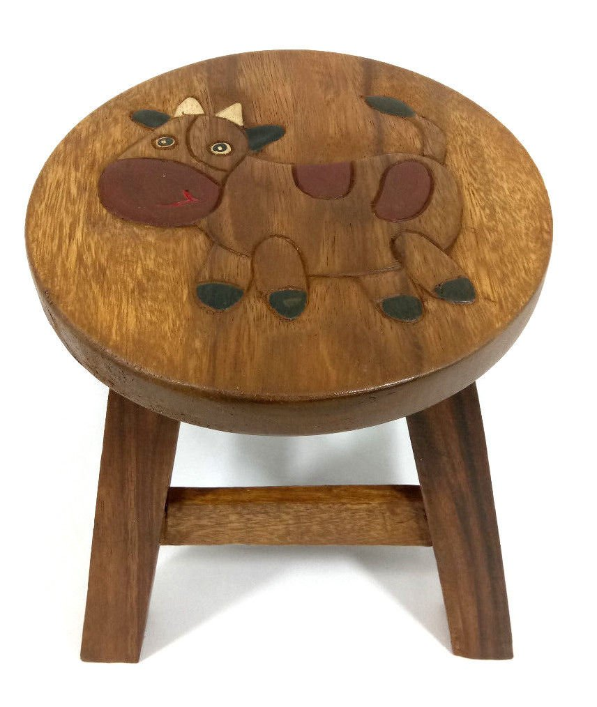COW Stool Wooded Childs Kids Small H:25cm x W:25cm CT
