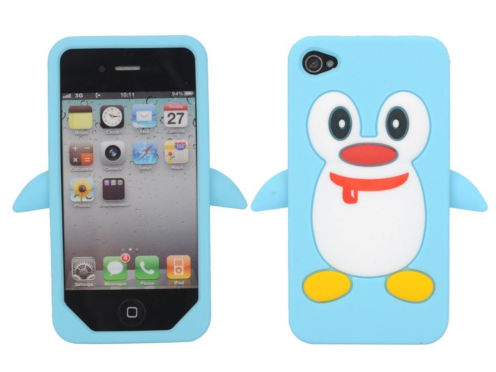 cheap for discount 4a8c4 67077 Blue Penguin Silicone Soft Case Cover For iPhone 4 4G 4S