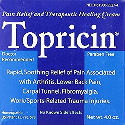 Topricin Pain Relief Cream Moisturizing Relief For Arthritis And Joint Pain, Cream 4 oz...