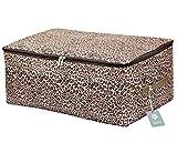 Clothes, Quilt, Underwear, Apparel, Garments Storage Organizer Box, Three-Open Zipper and Handles, Washable (Leopard print, L)