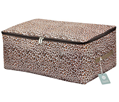 iwill CREATE PRO Clothes, Quilt, Underwear, Apparel, Garments Storage Organizer Box, Three-Open Zipper and Handles, Washable (Leopard print, L) - Garment Storage Boxes