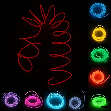 MagiDeal 5 M Lumineszenz Neon LED Lichter El Draht Saite Neon ...