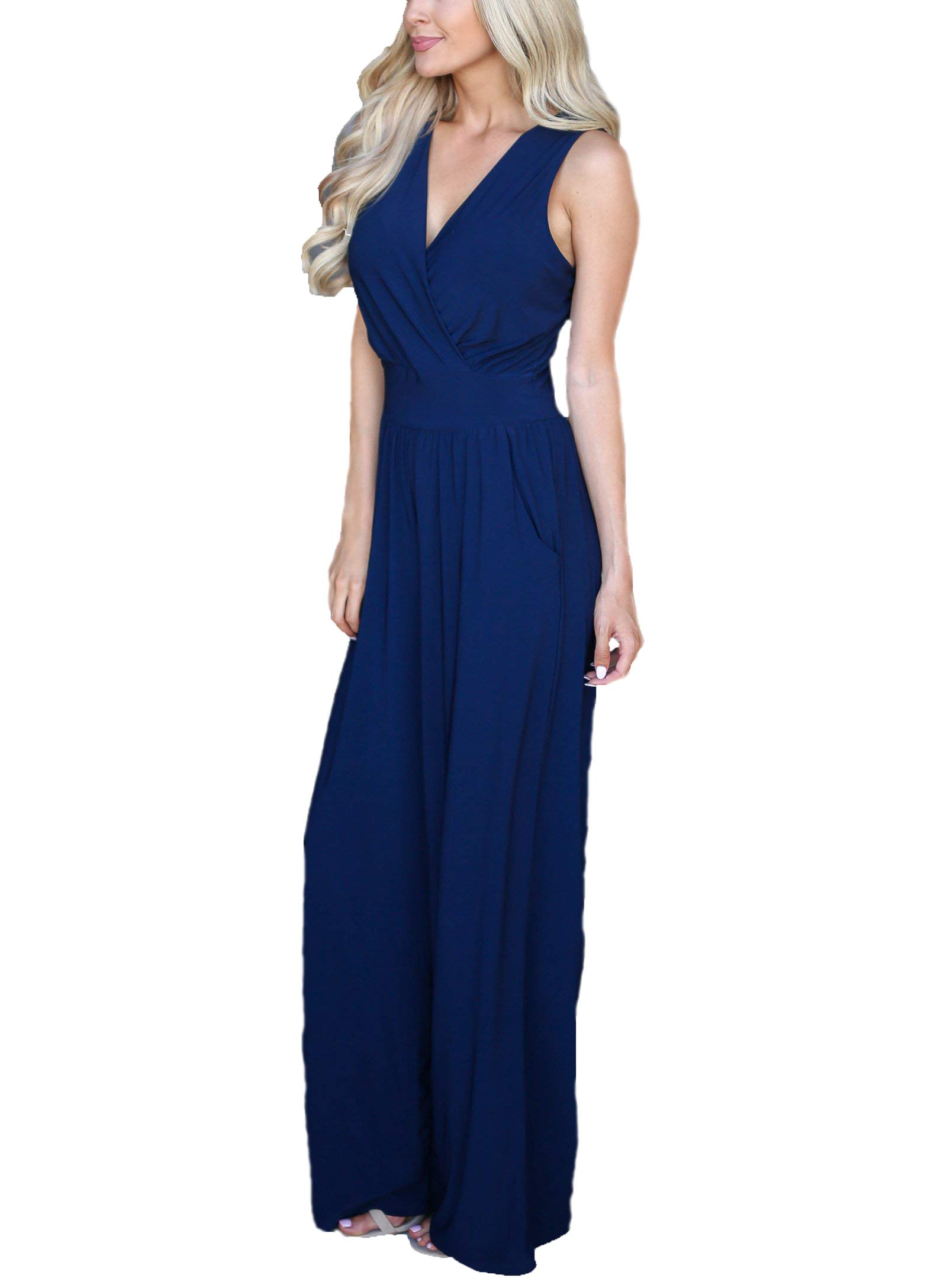US Womens Sexy Romper Sleveless V-Neck Tummy Control Leg Wide Loose Pants Jumpsuit Solid Color (Blue, S)