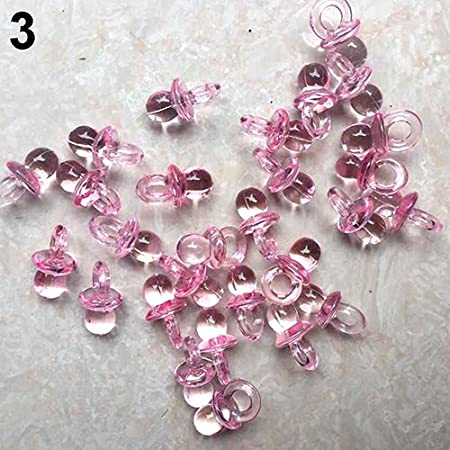 50 Pcs Clear Acrylic Mini Pacifiers Baby Shower Party Favor Girl Boy Game Decor White preliked Ornaments