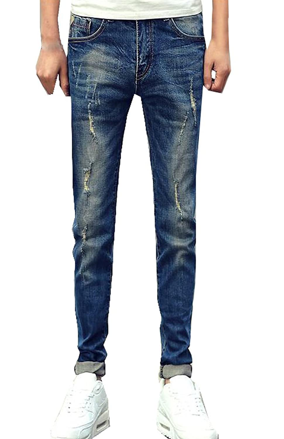 Vska Mens Fashion Casual Cotton Washed Ripped Denim Skinny Jeans