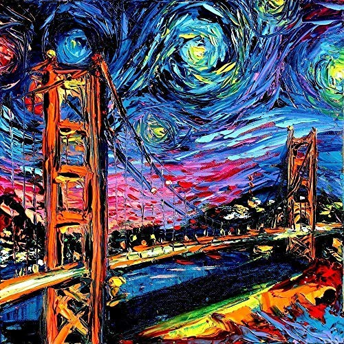Golden Gate Bridge Art Print San Francisco Starry Night Poster van Gogh Never Saw Golden Gate - Art by Aja choose size and type of paper