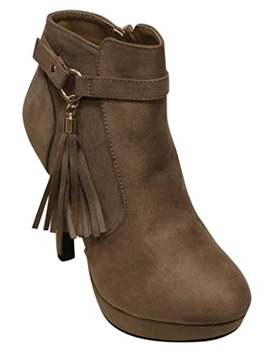 Khole-1 women's platform side zip tassel strap decor high heel ankle booties