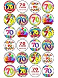 """24x Happy 70th Birthday Mix 1.5"""" (3.8cm) PRE- CUT PREMIUM RICE PAPER Edible Cake Toppers"""