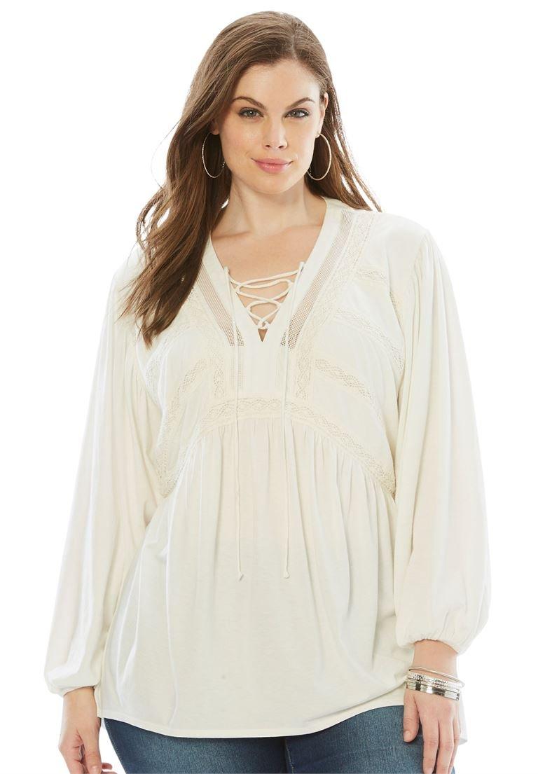 Roamans Women's Plus Size Lace Peasant Top with Crochet Detail
