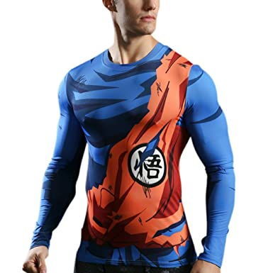 T-Shirt Compression Manga DBZ  Tshirt 3D Goku Sport Musculation Fitness    Vêtement Cross 82831fea80ce