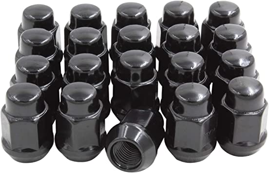 Hex Wheel Lug Nut 3//4 7//16, Black Set of 20 Lug Nuts Closed End Bulge Acorn Lug Nut Style 1.38 Long Cone Seat 19mm