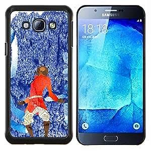 KLONGSHOP // Cubierta de piel con cierre a presión Shell trasero duro de goma Protección Caso - Azul abstracto rojo - Samsung Galaxy A8 A8000 //